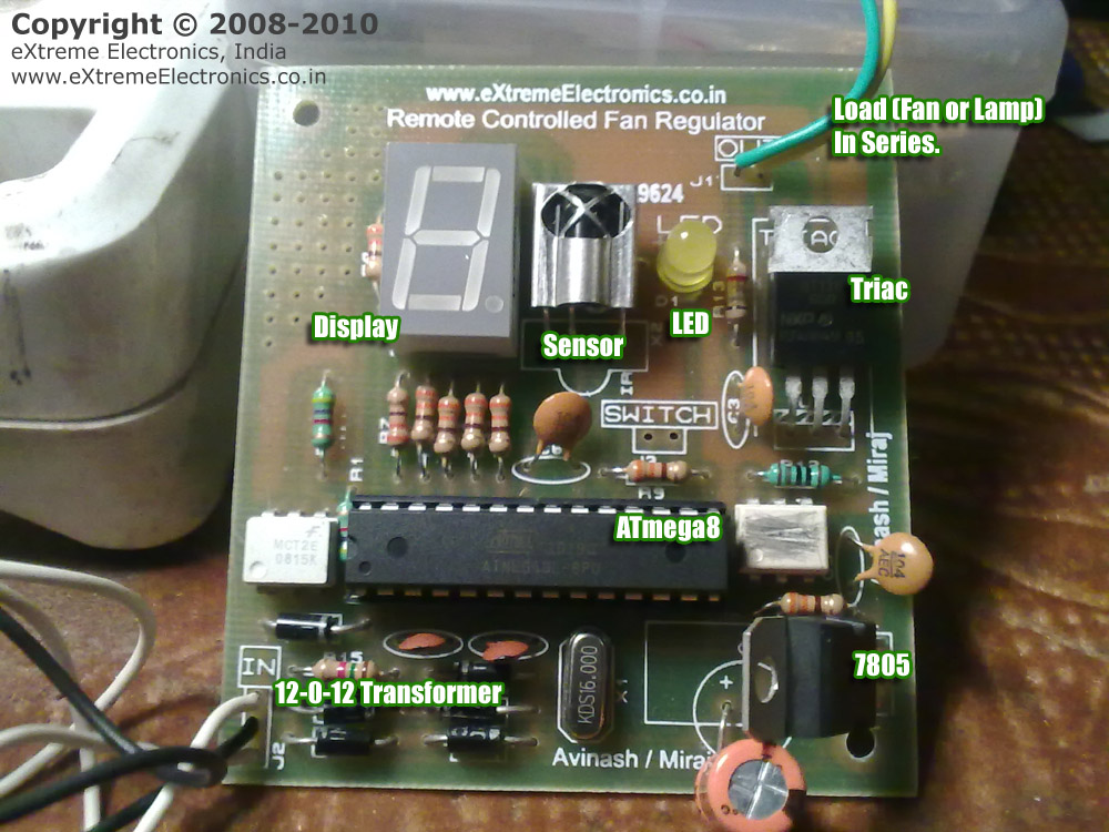 Avr Project    Remote Controlled Ac Fan Regulator Using Avr Atmega8    Extreme Electronics  India