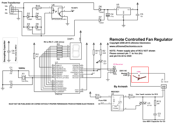 circuit diagram remote control ceiling fan the wiring diagram remote controlled fan regulator project using atmega8 wiring diagram