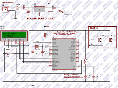 ATmega32 Analog Joystick Interface Schematic