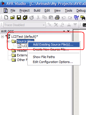 Adding source file to AVR Studio