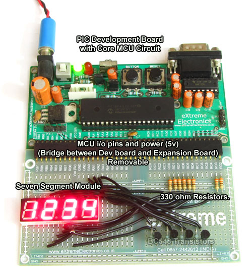 PIC Development board with seven segment display