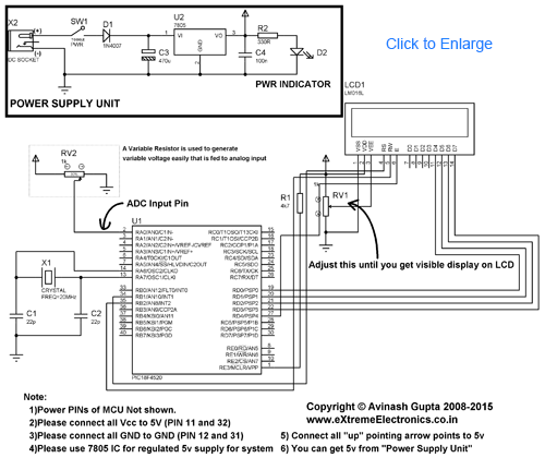 PIC ADC Test Schematic